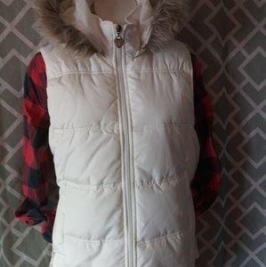 Maurices Cream Fur Hood Vest